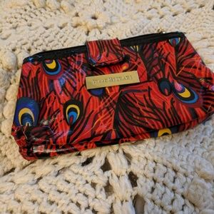 Isaac Mizrahi Feather peacock red cosmetic bag